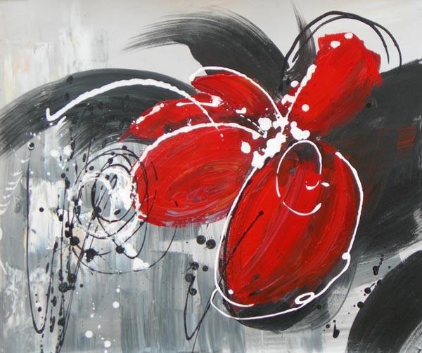 Schilderij bloem rood en grijs picture to pin on pinterest thepinsta - Kamer in rood en grijs ...