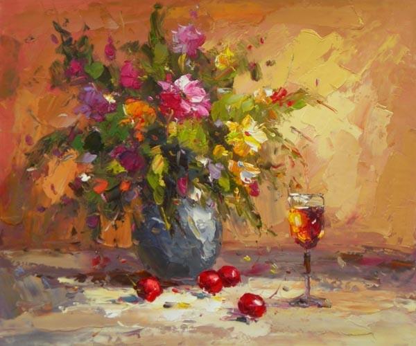 Schilderij bloemen en een glas for Schilderijen van bloemen