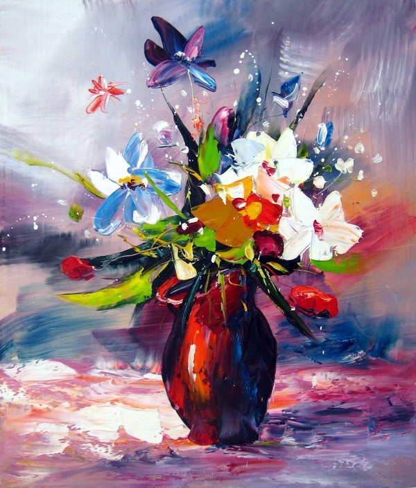 Extreem schilderij_bloemen_in_rode_vaa  #AT54