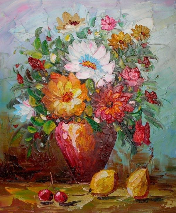 Top Schilderij Bloemen vaas en fruit &VH05