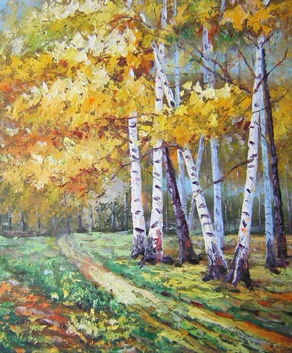 schilderij bomen aan landweg