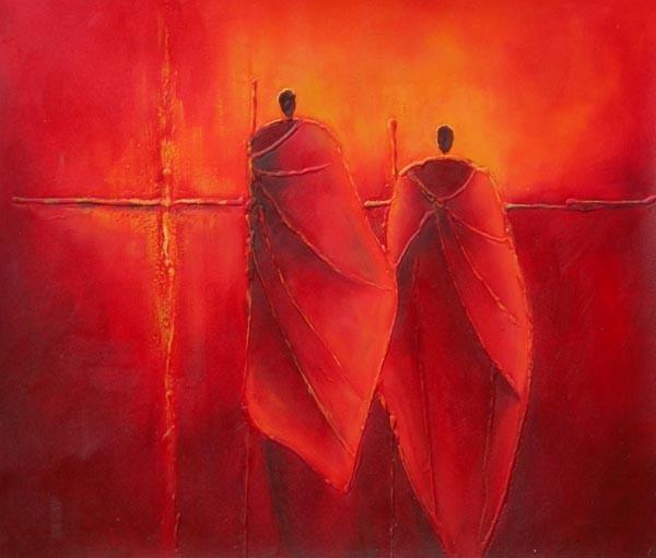 Schilderij Rode gedaantes