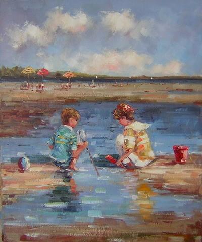 Schilderij kinderen bij het water - Kinder schilderij ...
