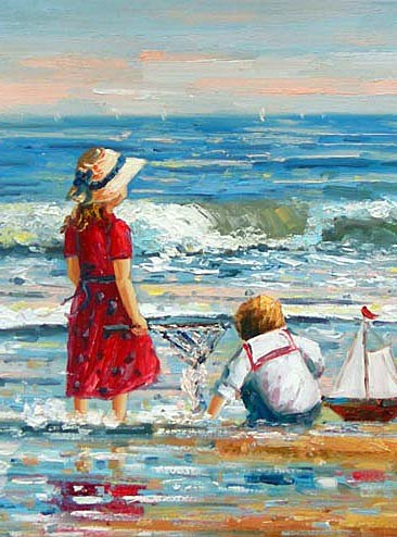 Schilderij spelende kinderen aan zee, schilderijenwereld.nl