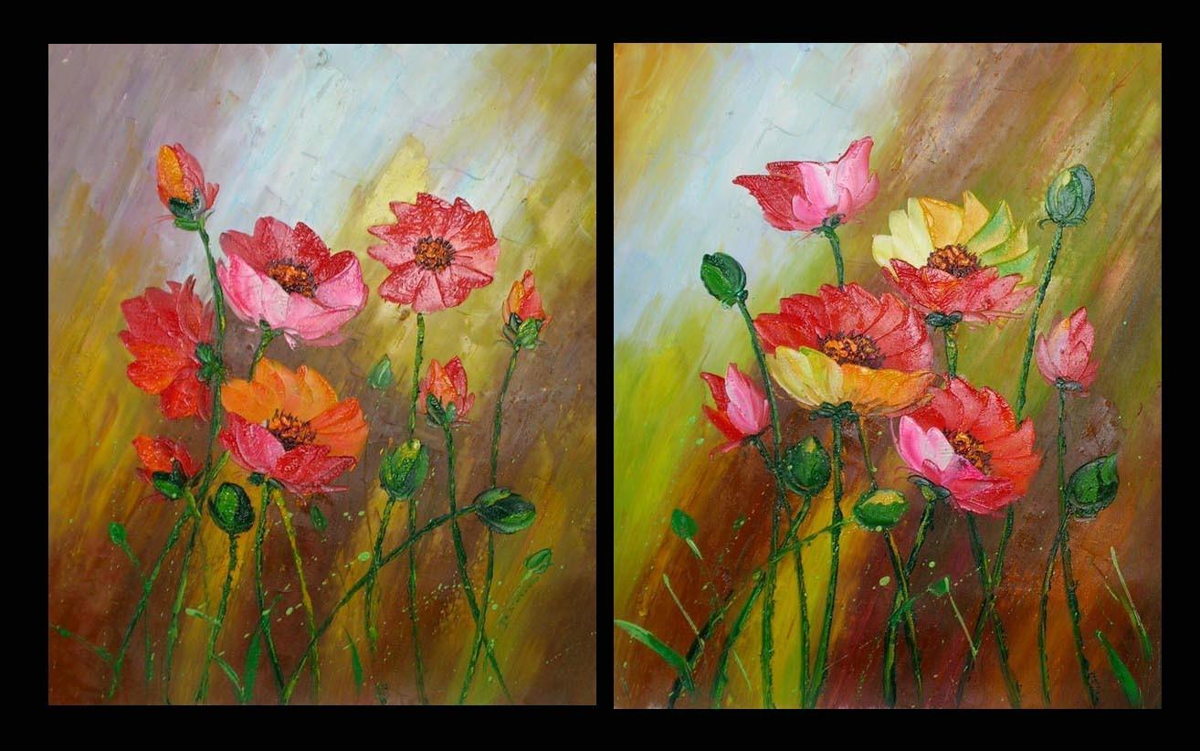 Schilderij veldbloemen tweeluik - Associatie van kleur e geen schilderij ...