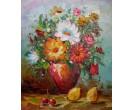 Bloemen vaas en fruit