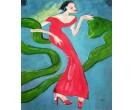 Schilderij Vrouw in het rood