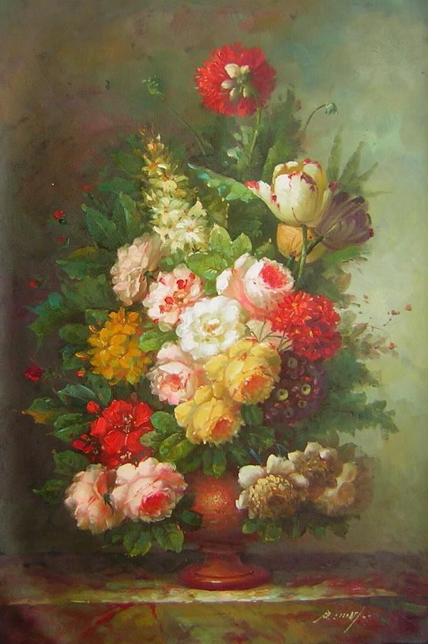 Schilderij bloemen aarden vaas for Schilderijen van bloemen