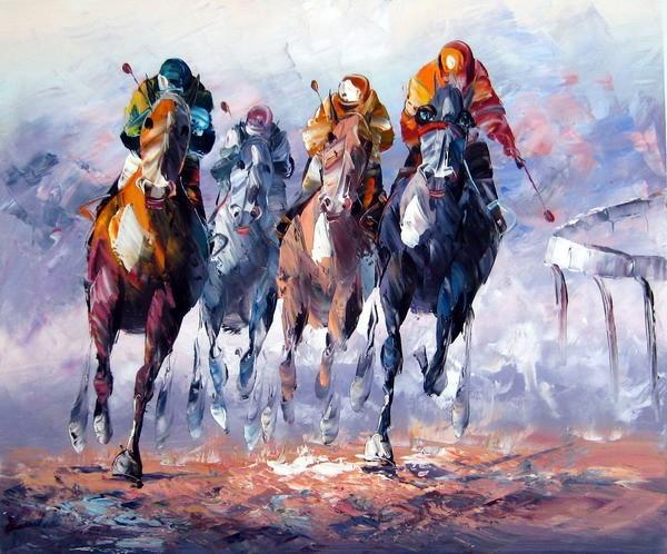 Uitgelezene Schilderij Paarden met ruiters VS-07